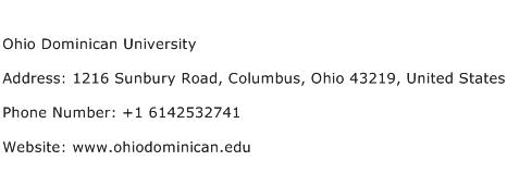 Ohio Dominican University Address Contact Number