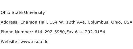 Ohio State University Address Contact Number