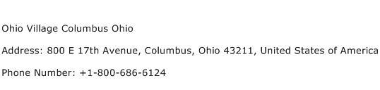 Ohio Village Columbus Ohio Address Contact Number