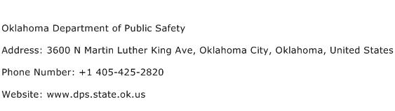 Oklahoma Department of Public Safety Address Contact Number