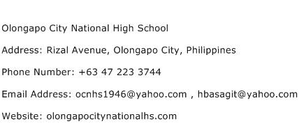 Olongapo City National High School Address Contact Number