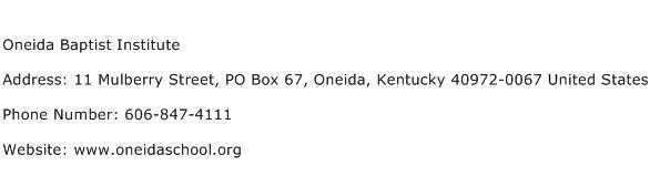 Oneida Baptist Institute Address Contact Number