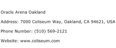 Oracle Arena Oakland Address Contact Number