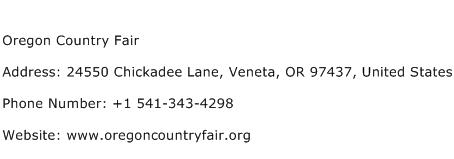 Oregon Country Fair Address Contact Number