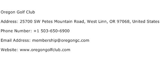 Oregon Golf Club Address Contact Number