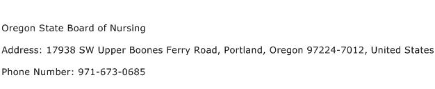 Oregon State Board of Nursing Address Contact Number
