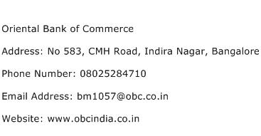 Oriental Bank of Commerce Address Contact Number