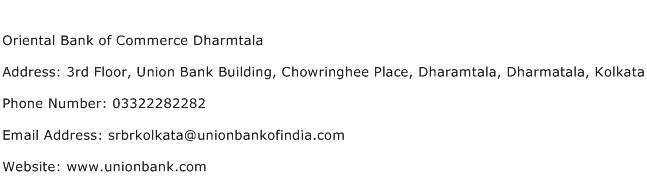 Oriental Bank of Commerce Dharmtala Address Contact Number