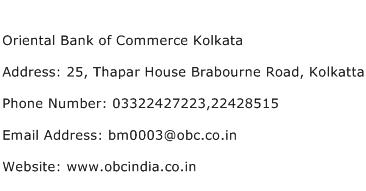 Oriental Bank of Commerce Kolkata Address Contact Number
