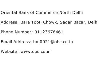 Oriental Bank of Commerce North Delhi Address Contact Number