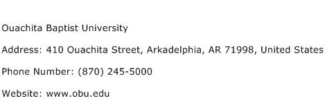 Ouachita Baptist University Address Contact Number