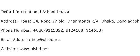Oxford International School Dhaka Address Contact Number