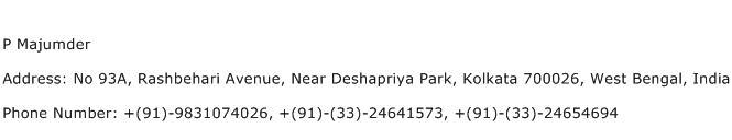 P Majumder Address Contact Number