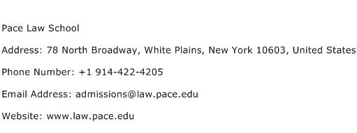 Pace Law School Address Contact Number
