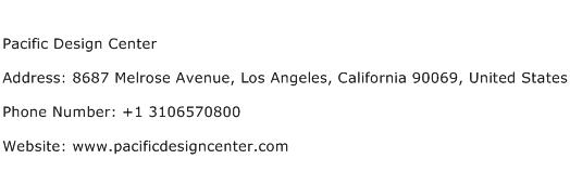 Pacific Design Center Address Contact Number