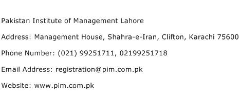 Pakistan Institute of Management Lahore Address Contact Number