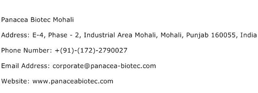 Panacea Biotec Mohali Address Contact Number