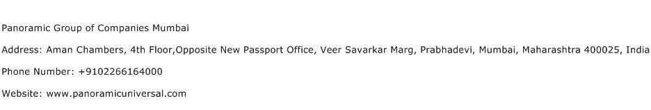 Panoramic Group of Companies Mumbai Address Contact Number