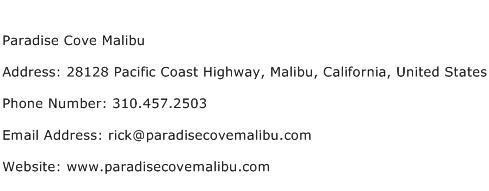 Paradise Cove Malibu Address Contact Number