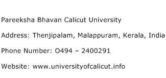 Pareeksha Bhavan Calicut University Address Contact Number