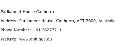 Parliament House Canberra Address Contact Number