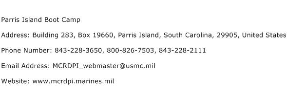 Parris Island Boot Camp Address Contact Number