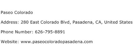 Paseo Colorado Address Contact Number