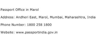 Passport Office in Marol Address Contact Number