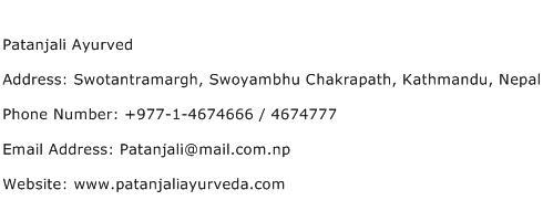 Patanjali Ayurved Address Contact Number