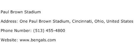 Paul Brown Stadium Address Contact Number