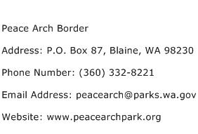 Peace Arch Border Address Contact Number