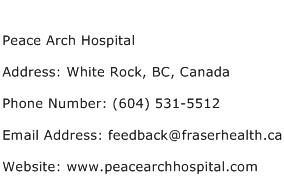 Peace Arch Hospital Address Contact Number