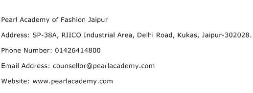 Pearl Academy of Fashion Jaipur Address Contact Number