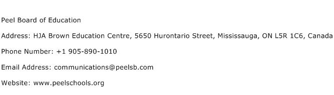 Peel Board of Education Address Contact Number