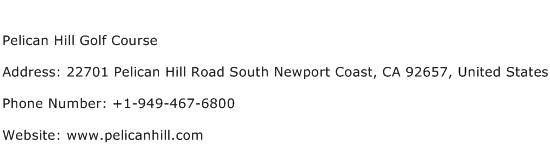 Pelican Hill Golf Course Address Contact Number