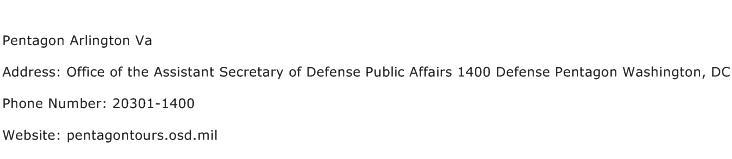 Pentagon Arlington Va Address Contact Number