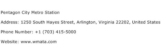 Pentagon City Metro Station Address Contact Number