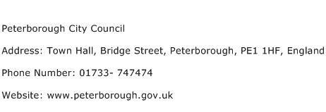 Peterborough City Council Address Contact Number