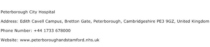 Peterborough City Hospital Address Contact Number