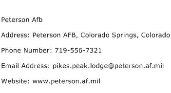 Peterson Afb Address Contact Number