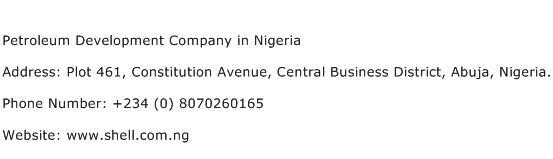 Petroleum Development Company in Nigeria Address Contact Number