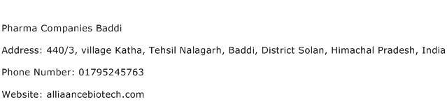 Pharma Companies Baddi Address Contact Number