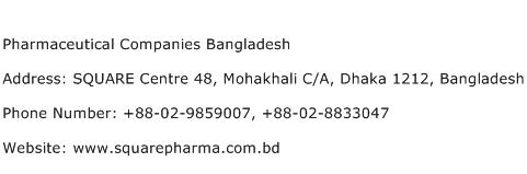 Pharmaceutical Companies Bangladesh Address Contact Number