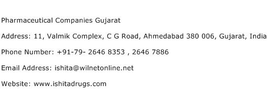 Pharmaceutical Companies Gujarat Address Contact Number