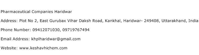 Pharmaceutical Companies Haridwar Address Contact Number