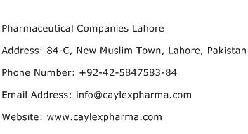 Pharmaceutical Companies Lahore Address Contact Number