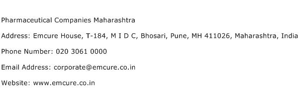 Pharmaceutical Companies Maharashtra Address Contact Number