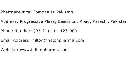 Pharmaceutical Companies Pakistan Address Contact Number