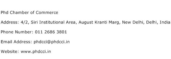 Phd Chamber of Commerce Address Contact Number