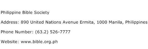 Philippine Bible Society Address Contact Number